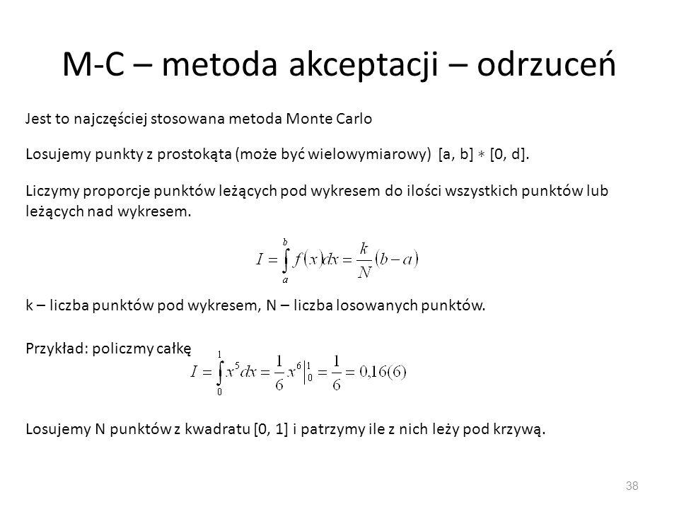M-C – metoda akceptacji – odrzuceń 38 Jest to najczęściej stosowana metoda Monte Carlo Losujemy punkty z prostokąta (może być wielowymiarowy) [a, b] ∗ [0, d].