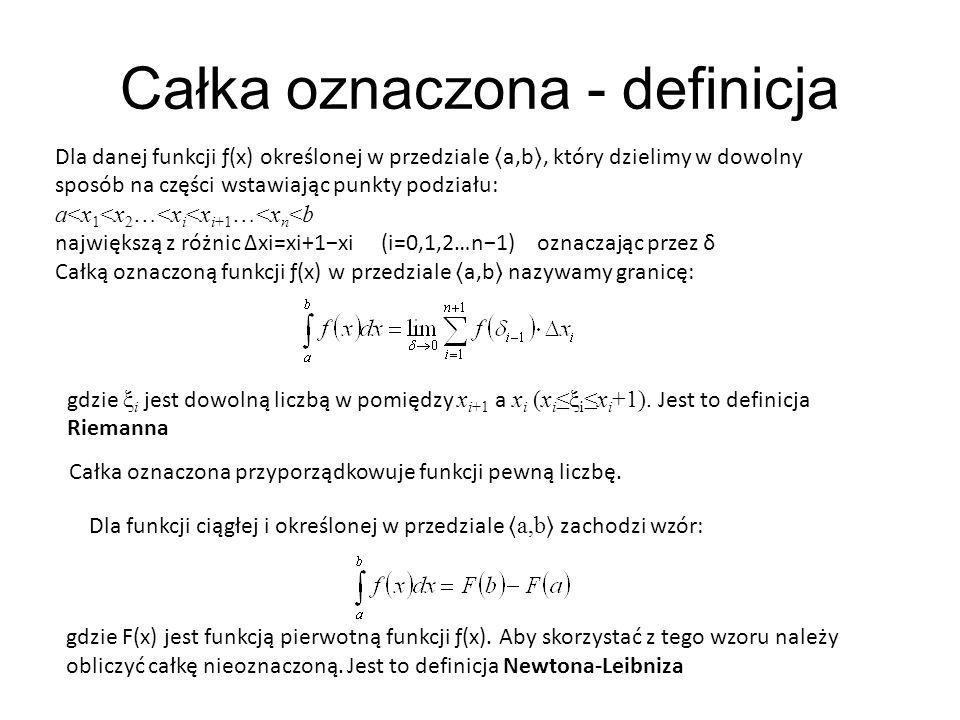 Przykład 19 Obliczymy ręcznie przybliżoną wartość całki oznaczonej z funkcji f(x) = sin(x) w przedziale.