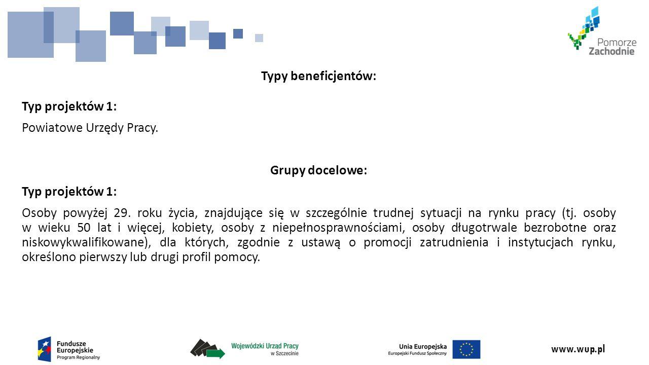 www.wup.pl Typy beneficjentów: Typ projektów 1: Powiatowe Urzędy Pracy.