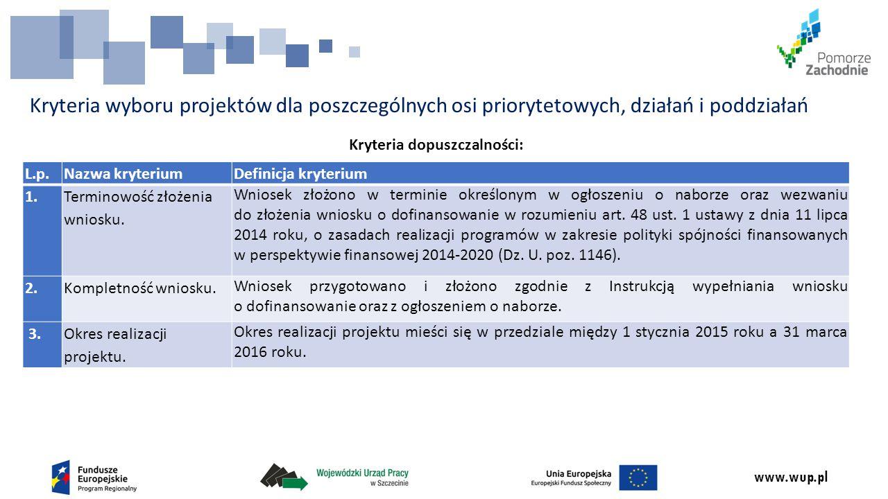 www.wup.pl Kryteria wyboru projektów dla poszczególnych osi priorytetowych, działań i poddziałań Kryteria dopuszczalności: L.p.Nazwa kryteriumDefinicja kryterium 1.