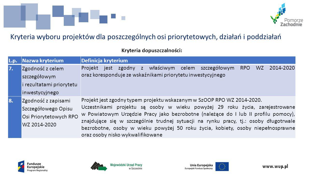 www.wup.pl Kryteria wyboru projektów dla poszczególnych osi priorytetowych, działań i poddziałań Kryteria dopuszczalności: L.p.Nazwa kryteriumDefinicja kryterium 7.