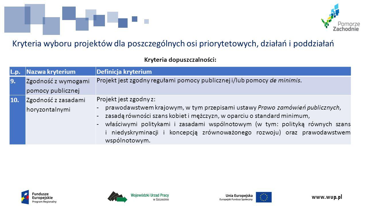 www.wup.pl Kryteria wyboru projektów dla poszczególnych osi priorytetowych, działań i poddziałań Kryteria dopuszczalności: L.p.Nazwa kryteriumDefinicja kryterium 9.