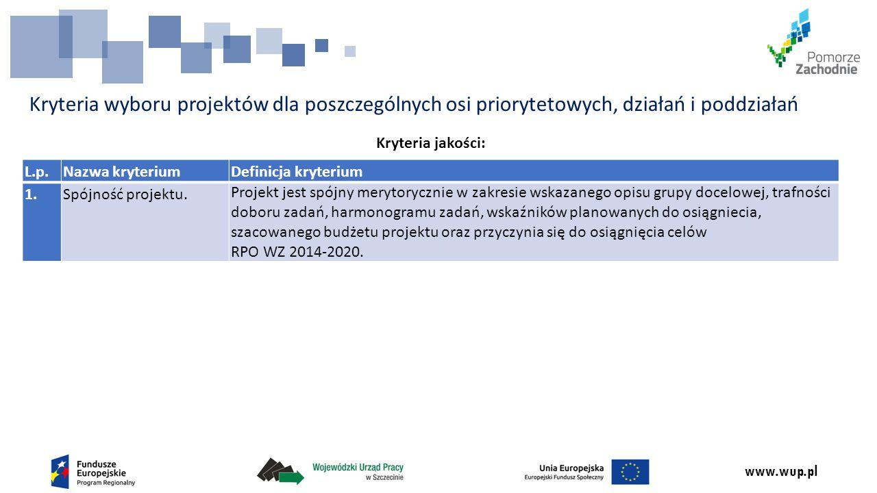 www.wup.pl Kryteria wyboru projektów dla poszczególnych osi priorytetowych, działań i poddziałań Kryteria jakości: L.p.Nazwa kryteriumDefinicja kryterium 1.Spójność projektu.