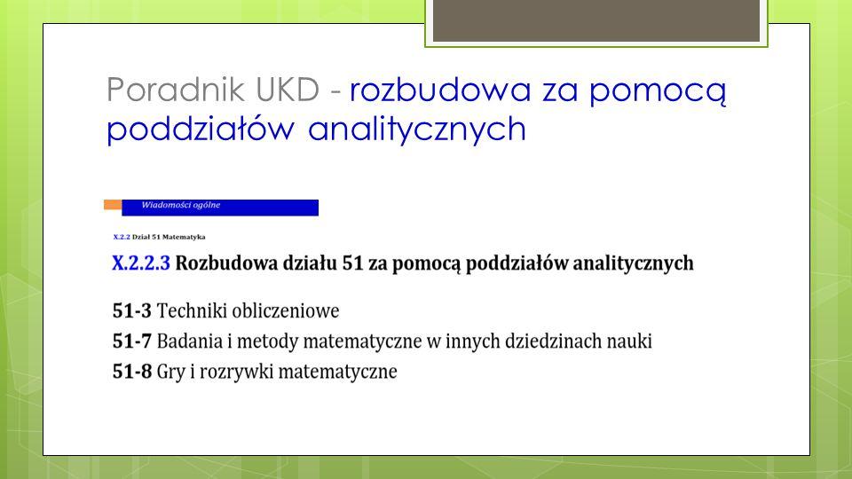 Poradnik UKD - rozbudowa za pomocą poddziałów analitycznych