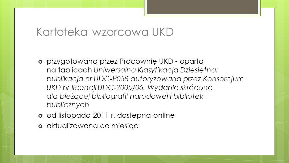 Kartoteka wzorcowa UKD  przygotowana przez Pracownię UKD - oparta na tablicach Uniwersalna Klasyfikacja Dziesiętna: publikacja nr UDC-P058 autoryzowa