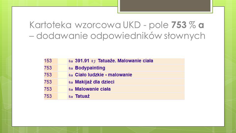Kartoteka wzorcowa UKD - pole 753 % a – dodawanie odpowiedników słownych