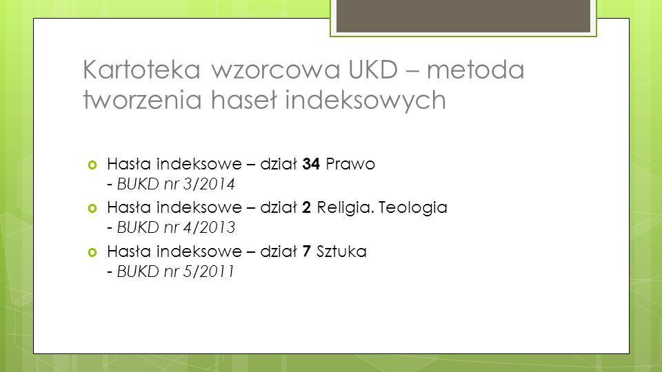 Kartoteka wzorcowa UKD – metoda tworzenia haseł indeksowych  Hasła indeksowe – dział 34 Prawo - BUKD nr 3/2014  Hasła indeksowe – dział 2 Religia. T