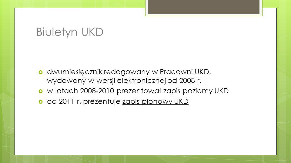 Biuletyn UKD  dwumiesięcznik redagowany w Pracowni UKD, wydawany w wersji elektronicznej od 2008 r.  w latach 2008-2010 prezentował zapis poziomy UK