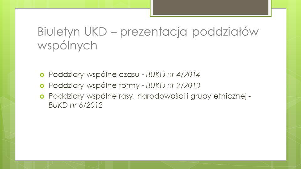 Biuletyn UKD – prezentacja poddziałów wspólnych  Poddziały wspólne czasu - BUKD nr 4/2014  Poddziały wspólne formy - BUKD nr 2/2013  Poddziały wspó
