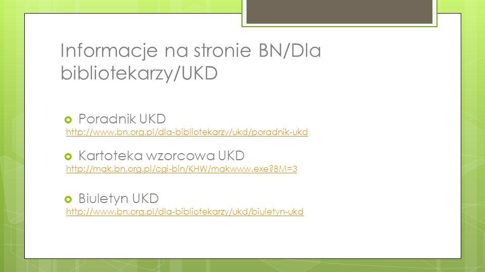 Informacje na stronie BN/Dla bibliotekarzy/UKD  Poradnik UKD http://www.bn.org.pl/dla-bibliotekarzy/ukd/poradnik-ukd  Kartoteka wzorcowa UKD http://