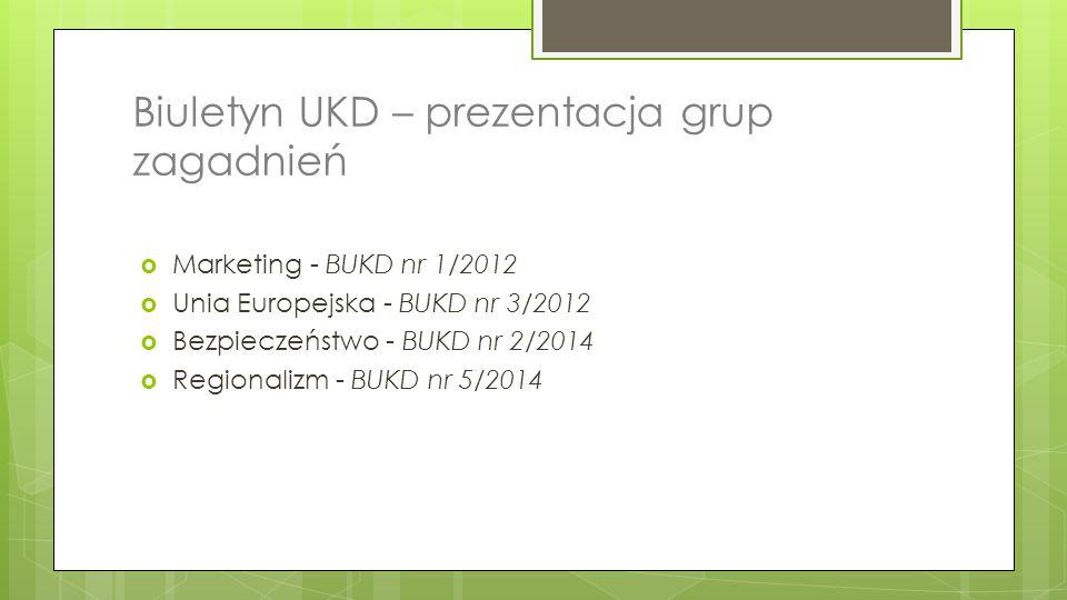 Biuletyn UKD – prezentacja grup zagadnień  Marketing - BUKD nr 1/2012  Unia Europejska - BUKD nr 3/2012  Bezpieczeństwo - BUKD nr 2/2014  Regional