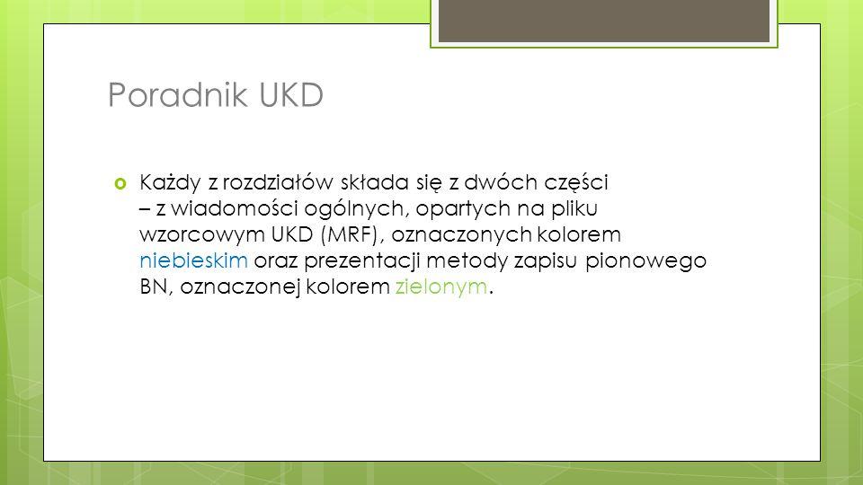 Poradnik UKD  Każdy z rozdziałów składa się z dwóch części – z wiadomości ogólnych, opartych na pliku wzorcowym UKD (MRF), oznaczonych kolorem niebie