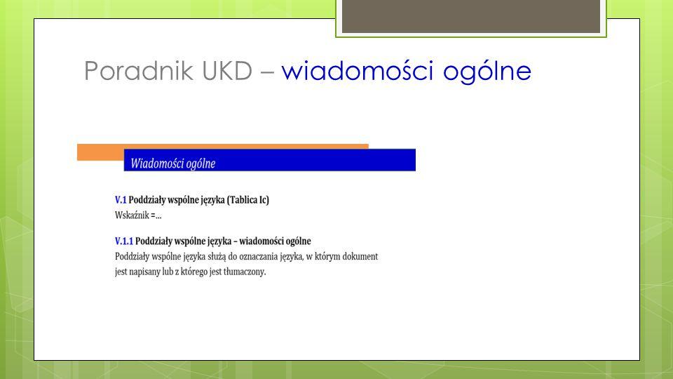Poradnik UKD - zakres dziedzinowy