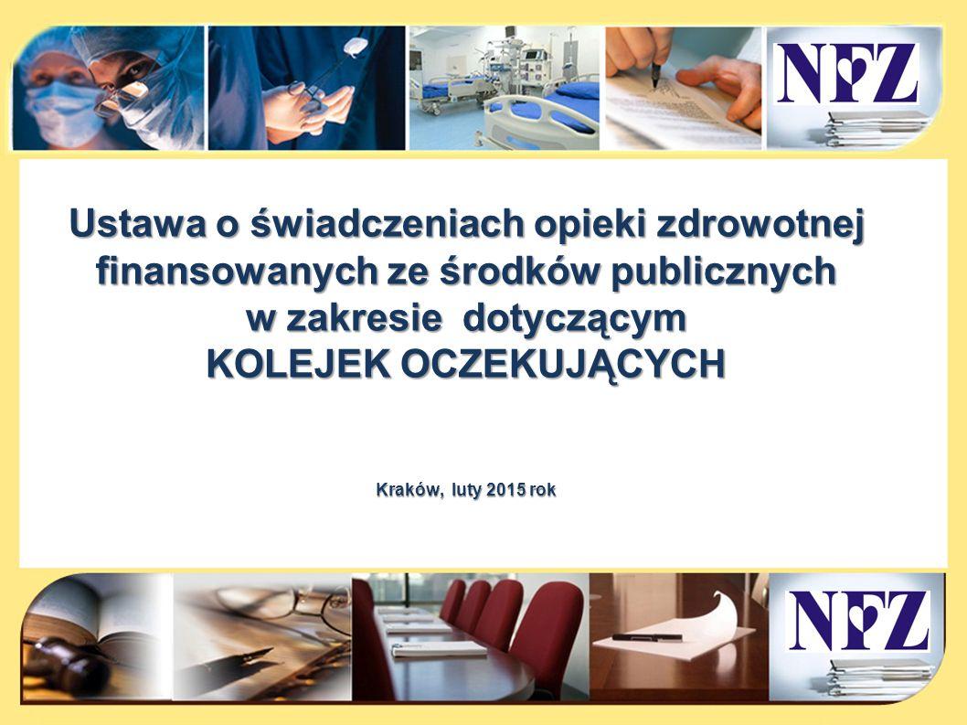 Ustawa o świadczeniach finansowanych ze środków publicznych w zakresie kolejek oczekujących Ustawa z dnia 27 sierpnia 2004 roku o świadczeniach opieki zdrowotnej finansowanych ze środków publicznych oraz niektórych innych ustaw (Dz.U.