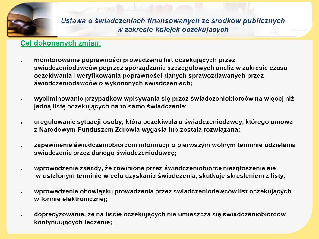 """Ustawa o świadczeniach finansowanych ze środków publicznych w zakresie kolejek oczekujących Jedno świadczenie – jeden wpis ● od 1 stycznia 2015 roku pacjent w celu otrzymania danego świadczenia może wpisać się tylko na jedną listę oczekujących u jednego świadczeniodawcy ● zasada ta dotyczy również świadczeń """"bez skierowania oraz świadczeń onkologicznych"""