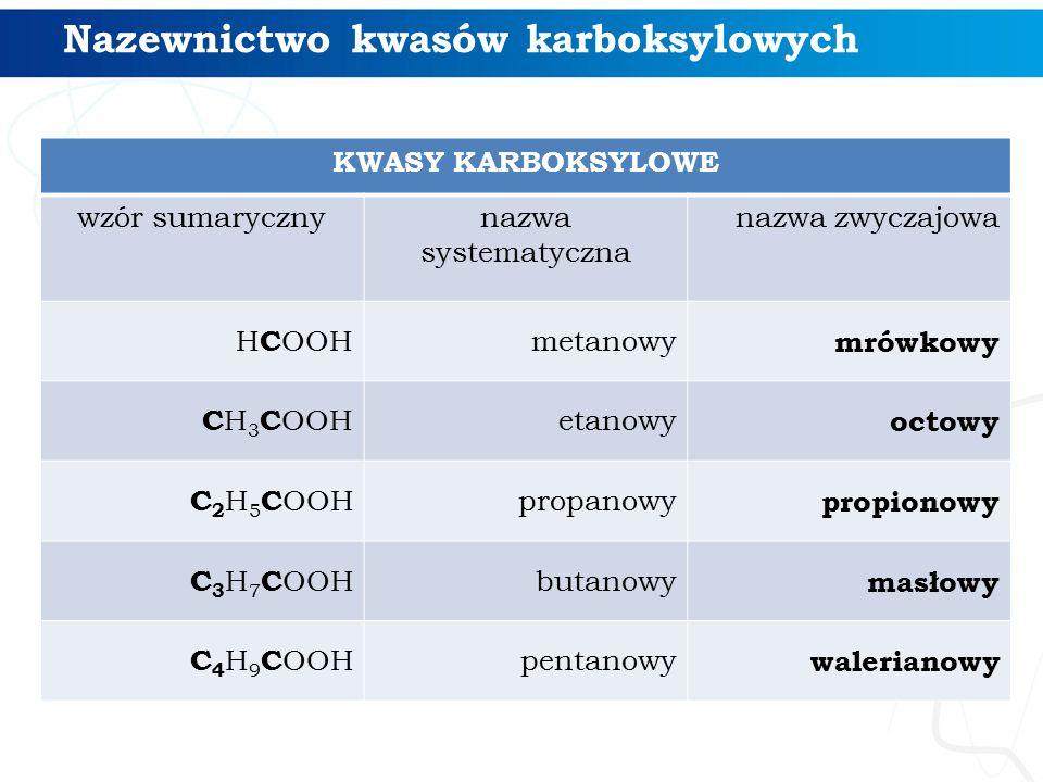Nazewnictwo kwasów karboksylowych KWASY KARBOKSYLOWE wzór sumarycznynazwa systematyczna nazwa zwyczajowa H C OOH metanowy mrówkowy C H 3 C OOH etanowy
