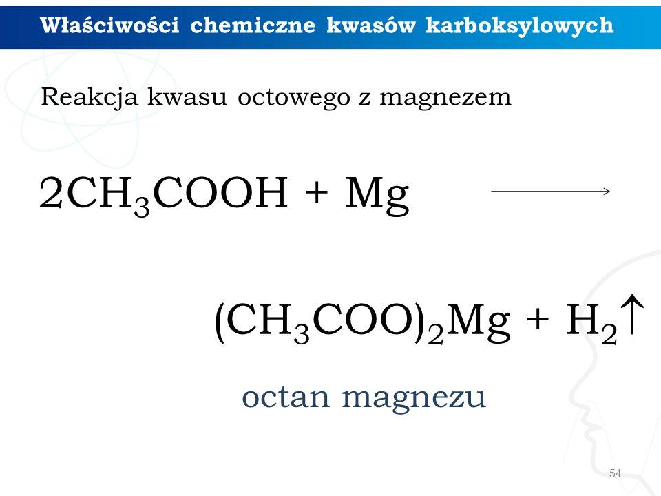 54 Właściwości chemiczne kwasów karboksylowych Reakcja kwasu octowego z magnezem 2CH 3 COOH + Mg (CH 3 COO) 2 Mg + H 2  octan magnezu