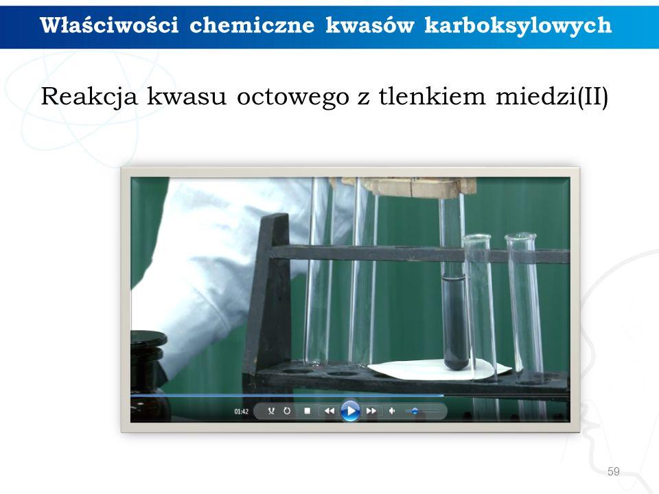 59 Reakcja kwasu octowego z tlenkiem miedzi(II) Właściwości chemiczne kwasów karboksylowych