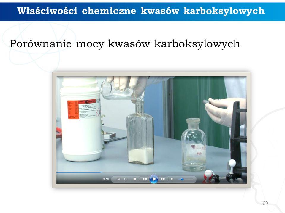 69 Właściwości chemiczne kwasów karboksylowych Porównanie mocy kwasów karboksylowych