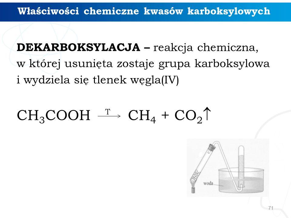 71 Właściwości chemiczne kwasów karboksylowych DEKARBOKSYLACJA – reakcja chemiczna, w której usunięta zostaje grupa karboksylowa i wydziela się tlenek węgla(IV) CH 3 COOH CH 4 + CO 2  T
