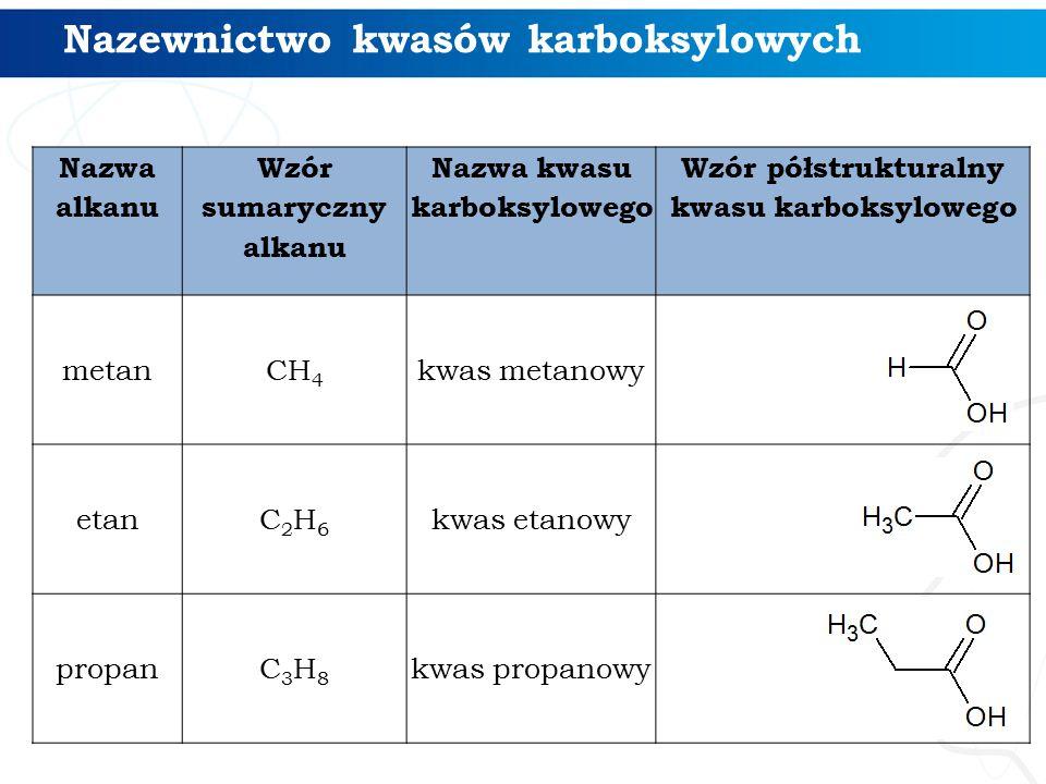 Nazewnictwo kwasów karboksylowych Nazwa alkanu Wzór sumaryczny alkanu Nazwa kwasu karboksylowego Wzór półstrukturalny kwasu karboksylowego metan CH 4 kwas metanowy etanC2H6C2H6 kwas etanowy propanC3H8C3H8 kwas propanowy