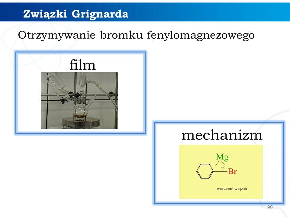90 Otrzymywanie bromku fenylomagnezowego mechanizm film Związki Grignarda