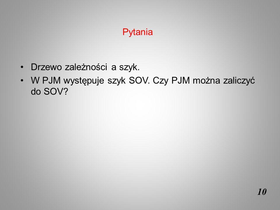 10 Drzewo zależności a szyk. W PJM występuje szyk SOV. Czy PJM można zaliczyć do SOV? Pytania
