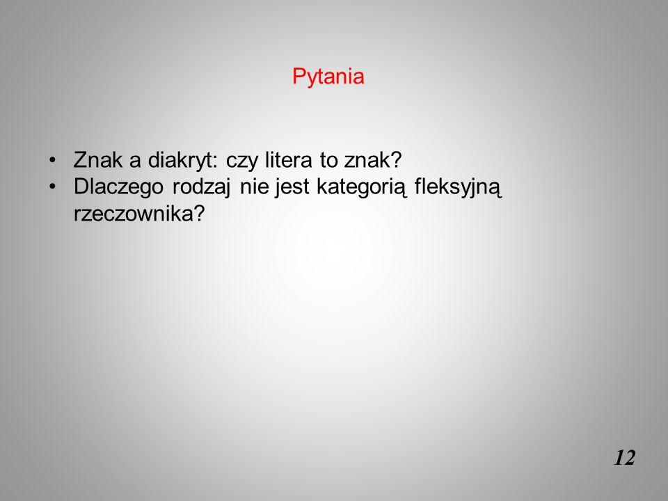12 Znak a diakryt: czy litera to znak? Dlaczego rodzaj nie jest kategorią fleksyjną rzeczownika? Pytania