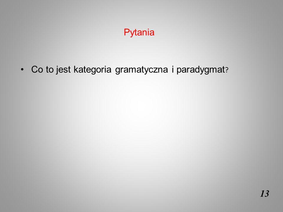 13 Co to jest kategoria gramatyczna i paradygmat ? Pytania