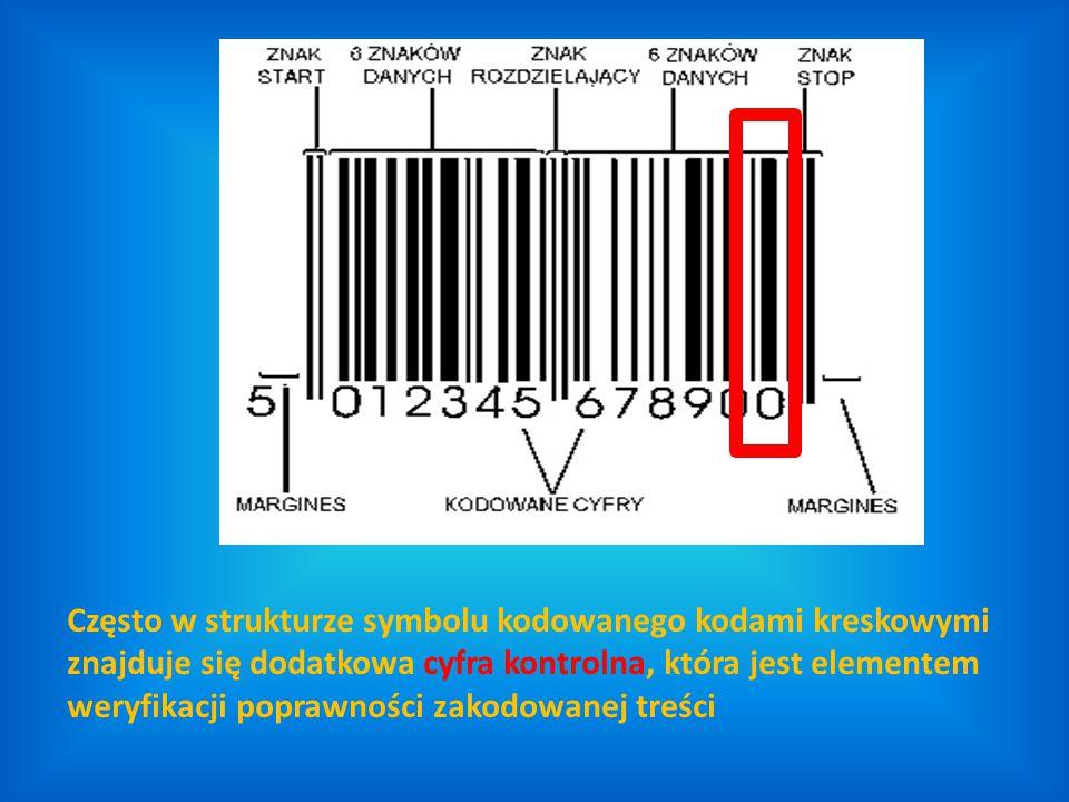 Często w strukturze symbolu kodowanego kodami kreskowymi znajduje się dodatkowa cyfra kontrolna, która jest elementem weryfikacji poprawności zakodowa