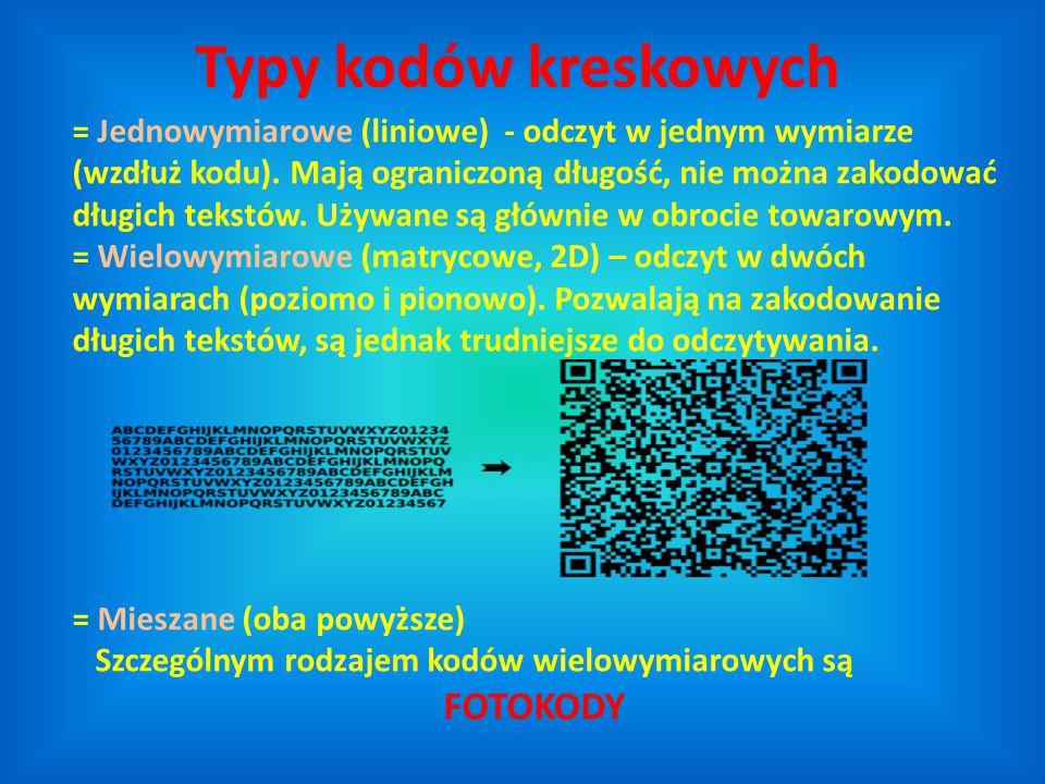 = Jednowymiarowe (liniowe) - odczyt w jednym wymiarze (wzdłuż kodu). Mają ograniczoną długość, nie można zakodować długich tekstów. Używane są głównie