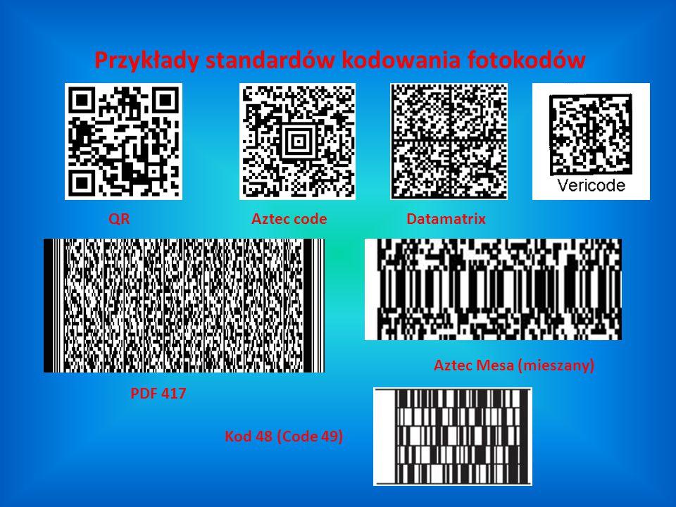 Przykłady standardów kodowania fotokodów Kod 48 (Code 49) Aztec codeDatamatrix PDF 417 QR Aztec Mesa (mieszany)