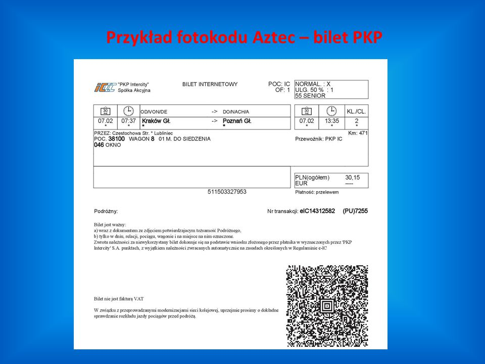 Przykład fotokodu Aztec – bilet PKP