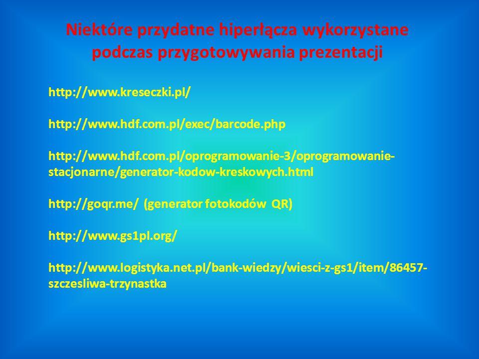 http://www.kreseczki.pl/ http://www.hdf.com.pl/exec/barcode.php http://www.hdf.com.pl/oprogramowanie-3/oprogramowanie- stacjonarne/generator-kodow-kre