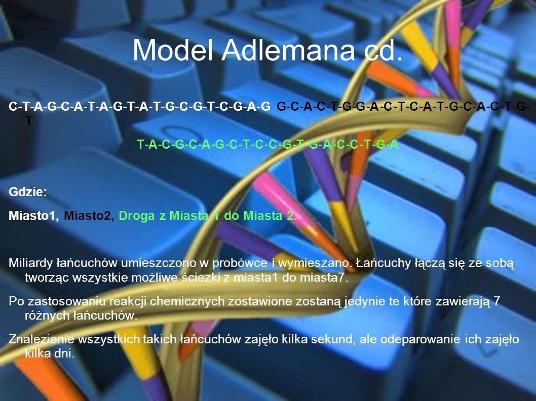 Model Adlemana cd. C-T-A-G-C-A-T-A-G-T-A-T-G-C-G-T-C-G-A-G G-C-A-C-T-G-G-A-C-T-C-A-T-G-C-A-C-T-G- T T-A-C-G-C-A-G-C-T-C-C-G-T-G-A-C-C-T-G-A Gdzie: Mia