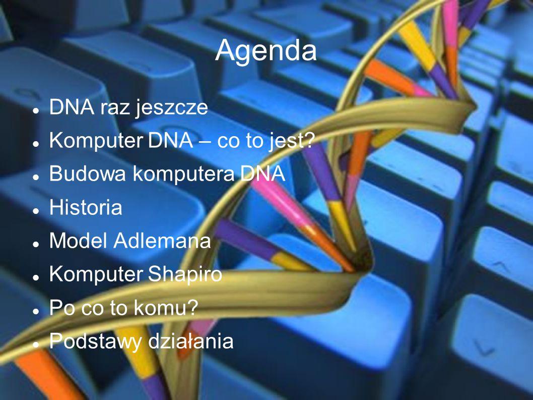 Agenda DNA raz jeszcze Komputer DNA – co to jest? Budowa komputera DNA Historia Model Adlemana Komputer Shapiro Po co to komu? Podstawy działania