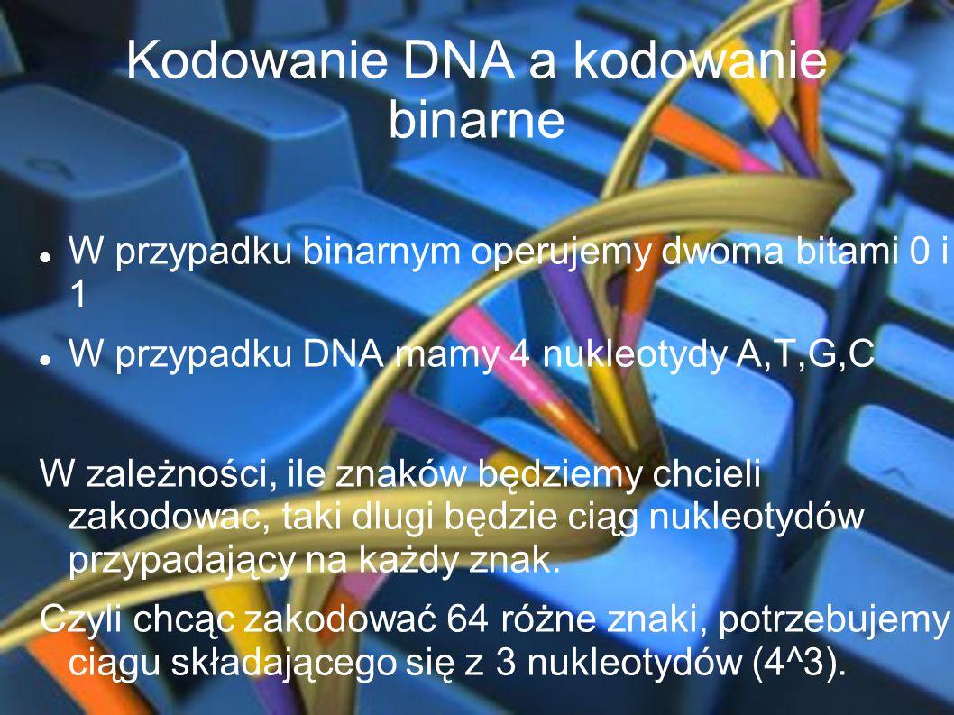 Kodowanie DNA a kodowanie binarne W przypadku binarnym operujemy dwoma bitami 0 i 1 W przypadku DNA mamy 4 nukleotydy A,T,G,C W zależności, ile znaków