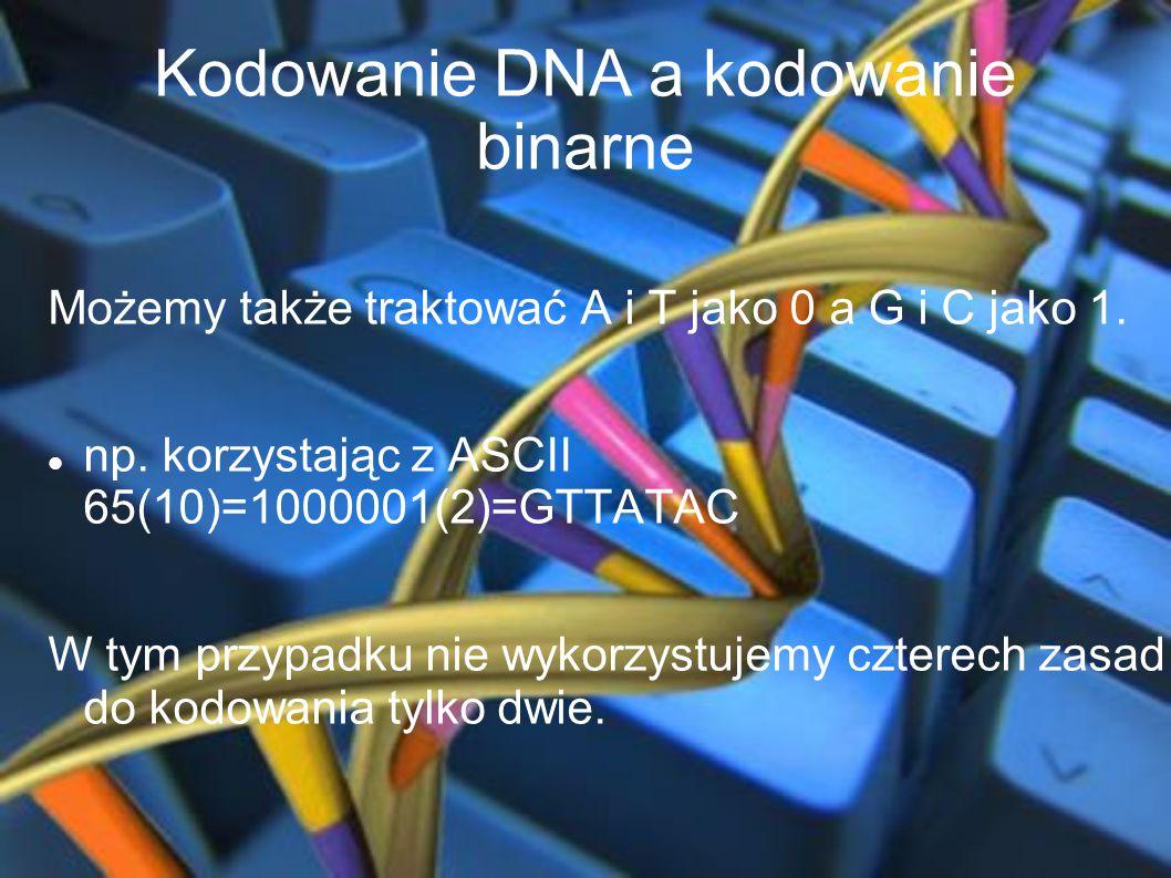 Kodowanie DNA a kodowanie binarne Możemy także traktować A i T jako 0 a G i C jako 1. np. korzystając z ASCII 65(10)=1000001(2)=GTTATAC W tym przypadk