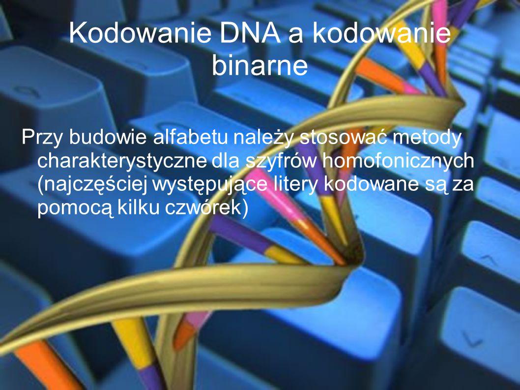 Kodowanie DNA a kodowanie binarne Przy budowie alfabetu należy stosować metody charakterystyczne dla szyfrów homofonicznych (najczęściej występujące l