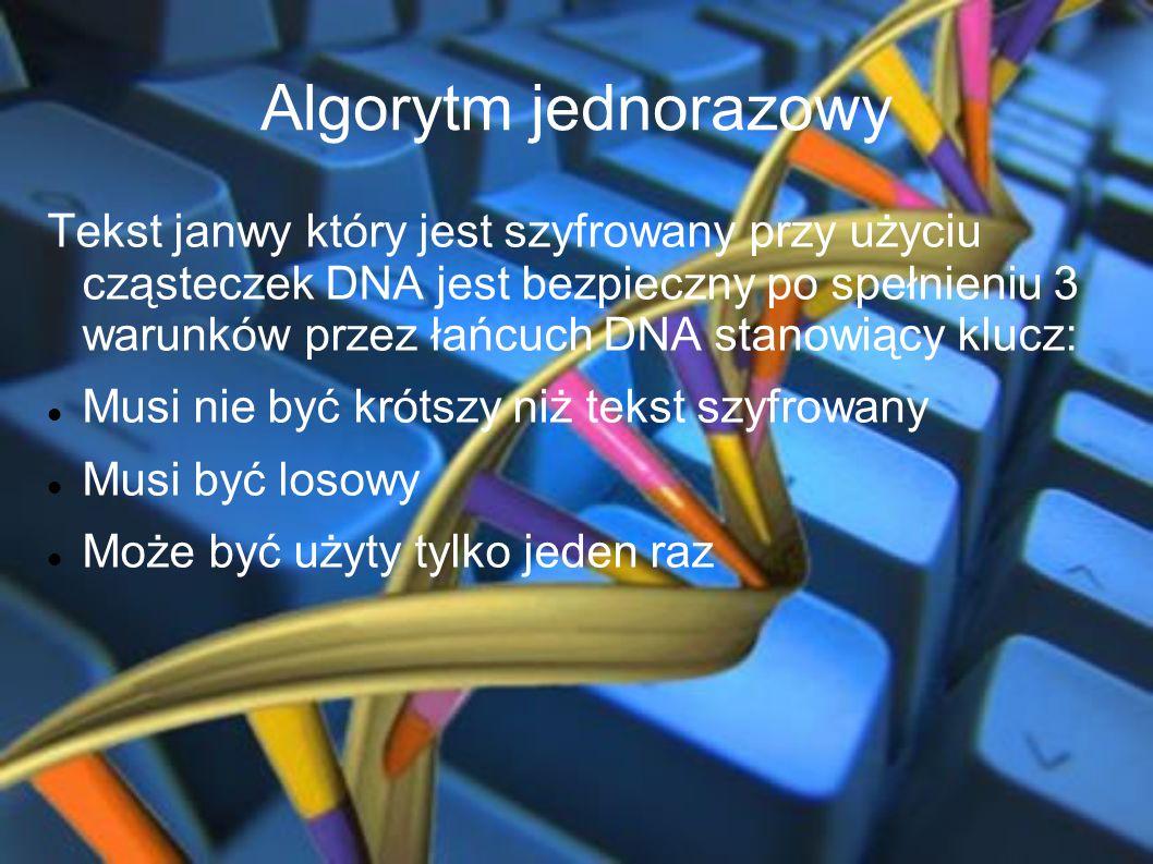Algorytm jednorazowy Tekst janwy który jest szyfrowany przy użyciu cząsteczek DNA jest bezpieczny po spełnieniu 3 warunków przez łańcuch DNA stanowiąc