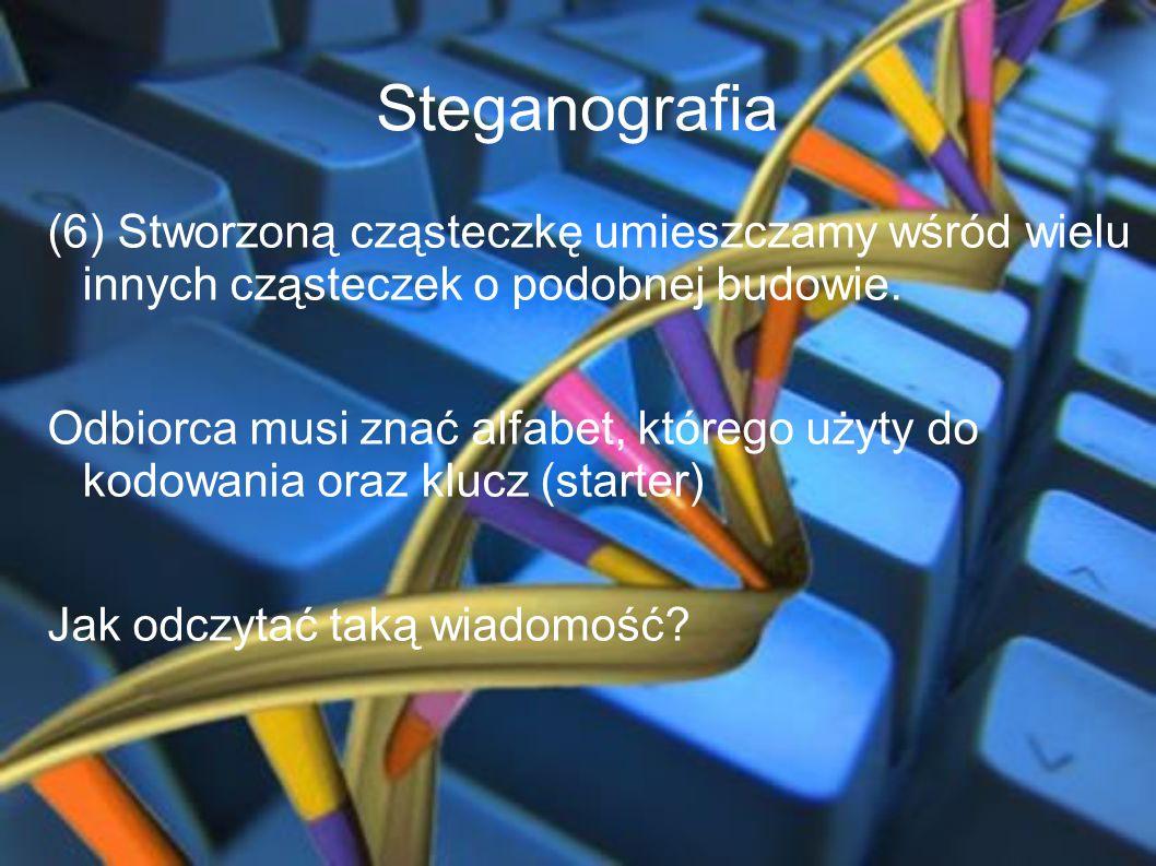 Steganografia (6) Stworzoną cząsteczkę umieszczamy wśród wielu innych cząsteczek o podobnej budowie. Odbiorca musi znać alfabet, którego użyty do kodo