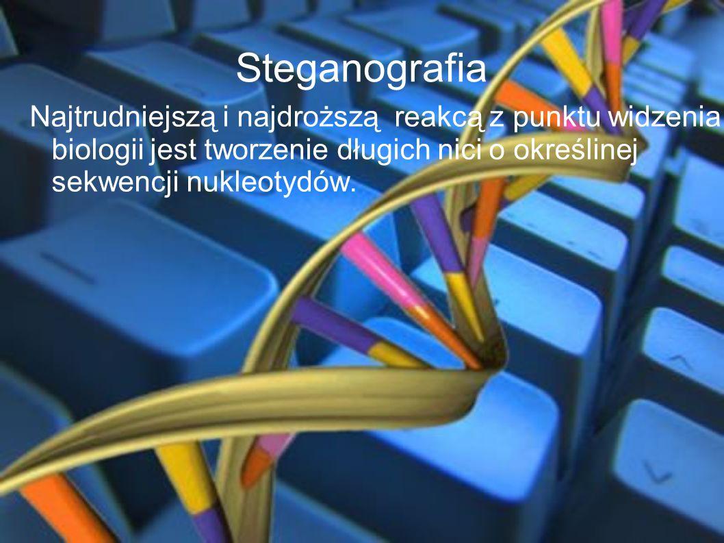 Steganografia Najtrudniejszą i najdroższą reakcą z punktu widzenia biologii jest tworzenie długich nici o określinej sekwencji nukleotydów.