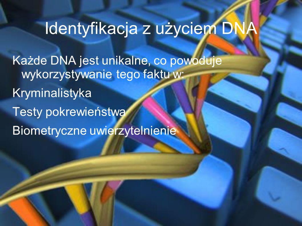 Identyfikacja z użyciem DNA Każde DNA jest unikalne, co powoduje wykorzystywanie tego faktu w: Kryminalistyka Testy pokrewieństwa Biometryczne uwierzy