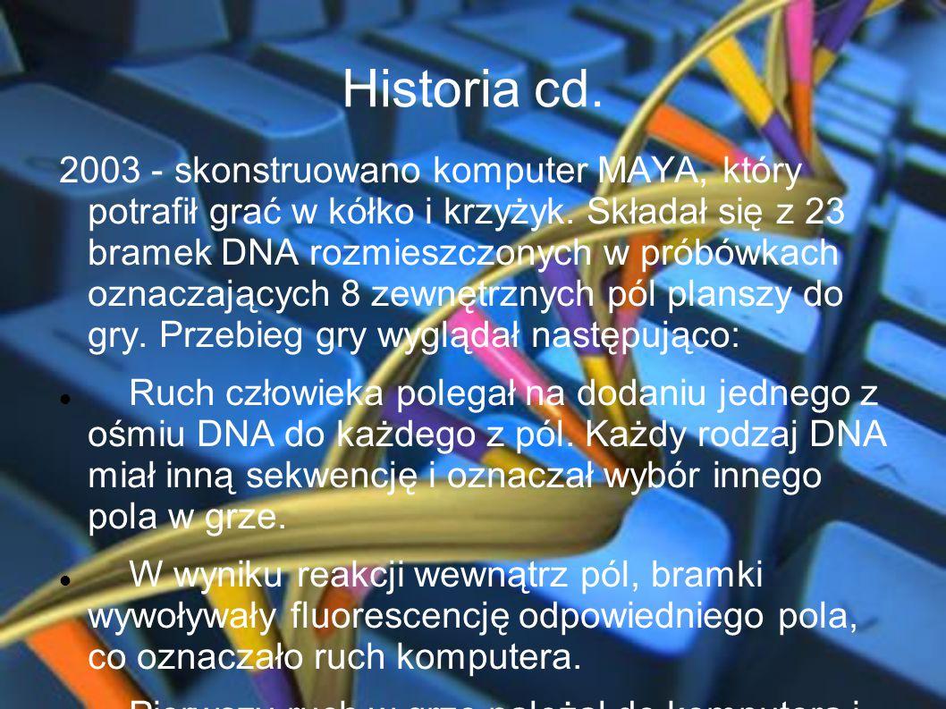 Historia cd. 2003 - skonstruowano komputer MAYA, który potrafił grać w kółko i krzyżyk. Składał się z 23 bramek DNA rozmieszczonych w próbówkach oznac