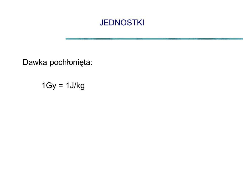 JEDNOSTKI Dawka pochłonięta: 1Gy = 1J/kg