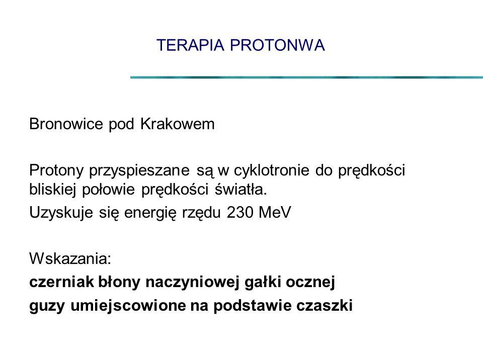 TERAPIA PROTONWA Bronowice pod Krakowem Protony przyspieszane są w cyklotronie do prędkości bliskiej połowie prędkości światła. Uzyskuje się energię r