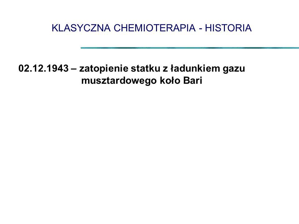 KLASYCZNA CHEMIOTERAPIA - HISTORIA 02.12.1943 – zatopienie statku z ładunkiem gazu musztardowego koło Bari