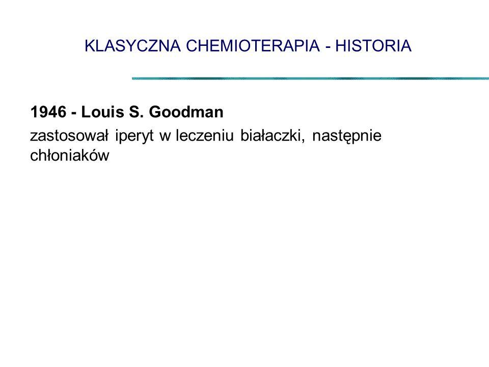 KLASYCZNA CHEMIOTERAPIA - HISTORIA 1946 - Louis S. Goodman zastosował iperyt w leczeniu białaczki, następnie chłoniaków