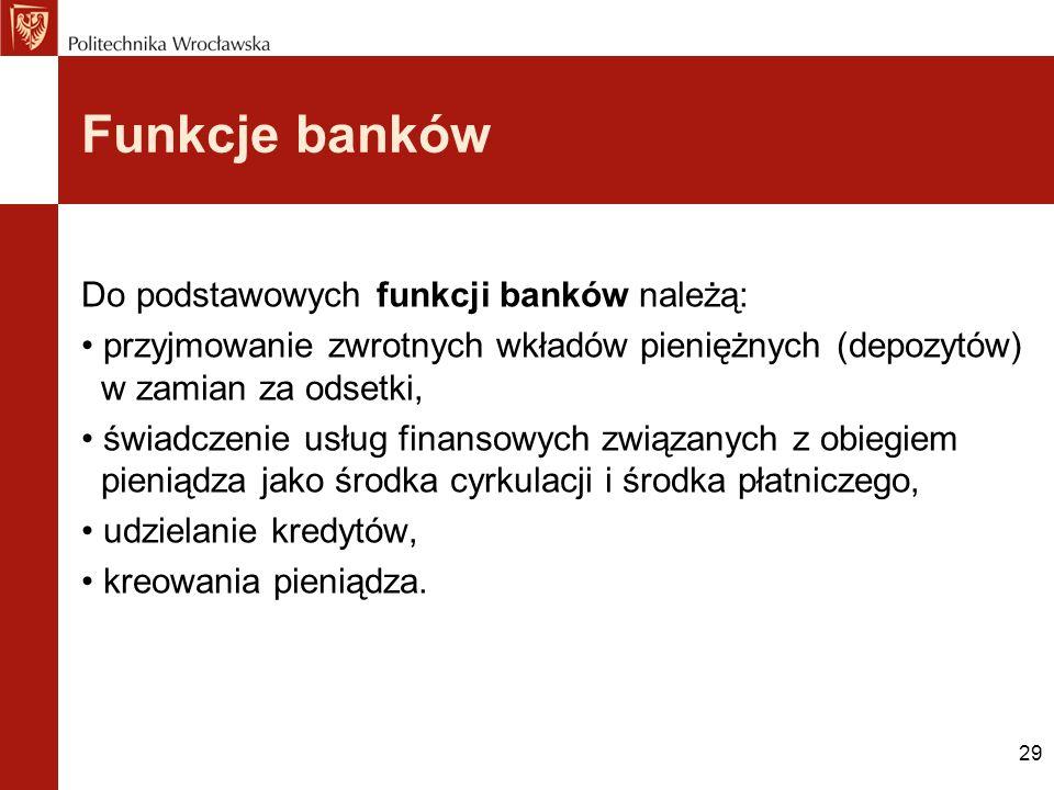 29 Funkcje banków Do podstawowych funkcji banków należą: przyjmowanie zwrotnych wkładów pieniężnych (depozytów) w zamian za odsetki, świadczenie usług