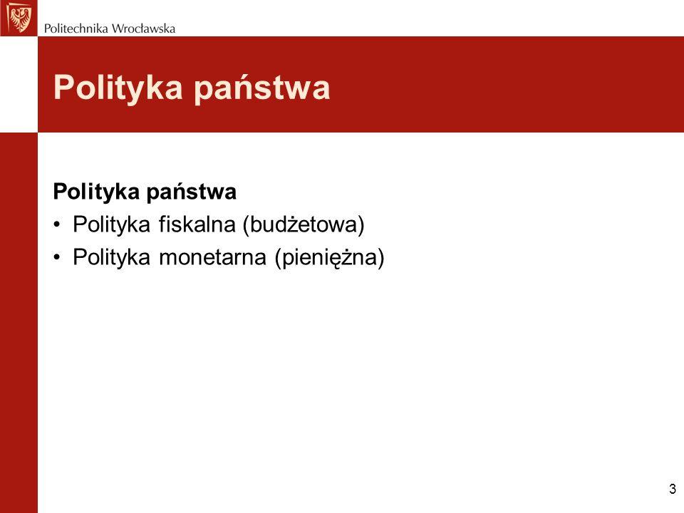 3 Polityka państwa Polityka fiskalna (budżetowa) Polityka monetarna (pieniężna)